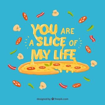 재료와 블루 피자 배경