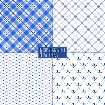 Blue plaid checkered russian porcelain beautiful folk ornament.  illustration. seamless pattern background.