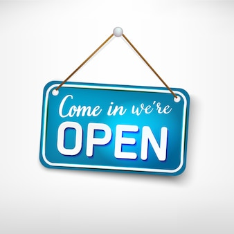 Blue plate come back later we are closed. advertising sign for entrance doors, store opening