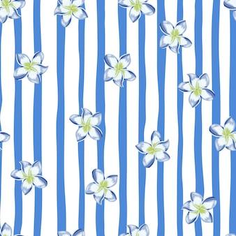 스트라이프 배경에 파란색 plumeria 꽃 완벽 한 패턴입니다. 이국적인 열대 벽지. 추상 식물 배경입니다. 직물, 섬유 인쇄, 포장, 덮개 디자인. 벡터 일러스트 레이 션.