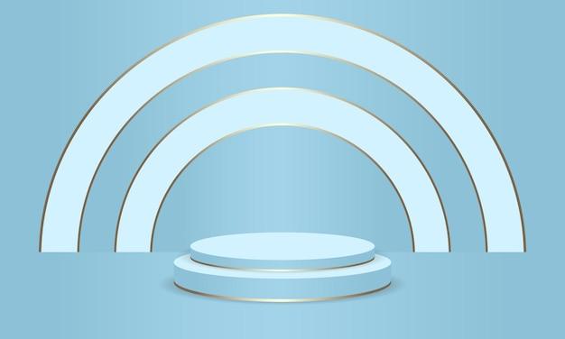 製品の青い表彰台の抽象的なラウンドディスプレイシーン