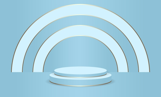 Blue podium abstract round display scene for product