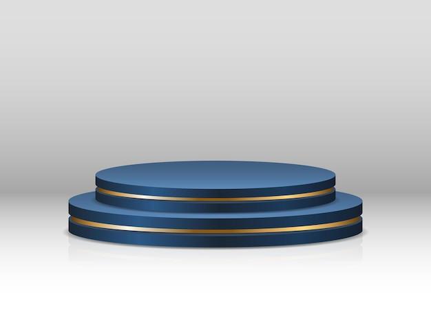 파란색 연단. 제품 발표를위한 사실적인 받침대. 받침대 및 플랫폼, 스탠드 스테이지, 실린더. 라운드 빈 단계.
