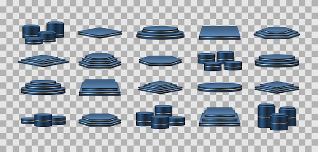 Blue podiums. realistic pedestal for winners. pedestal and platform, stand stage, cylinder.