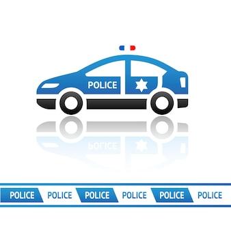 青いパトカー-ベクトルデザイン要素