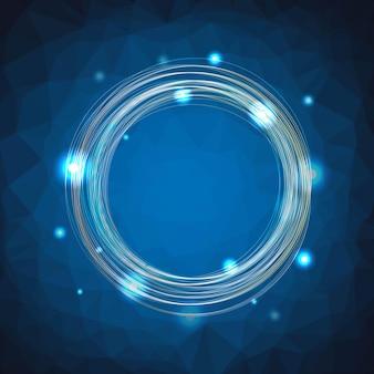 Синий полигональный фон с линией