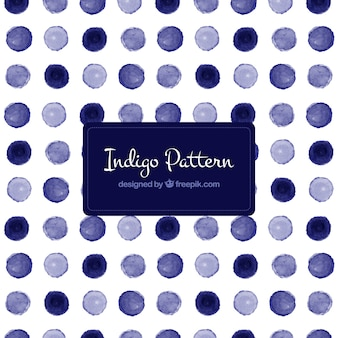 Blue polka dot pattern in watercolor