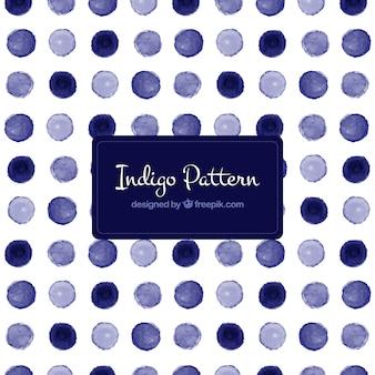 Blue polka dot pattern in watercolor
