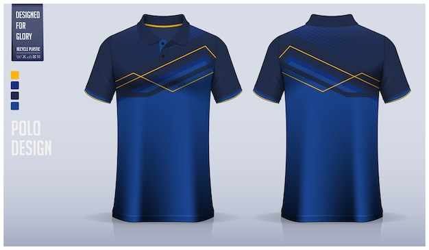 Blue polo shirt template design, sport uniform and casual wear.
