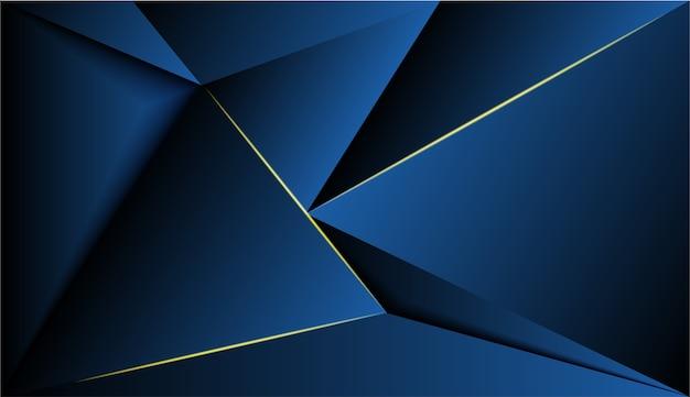 青いポリゴンと金色の輝きのある背景。