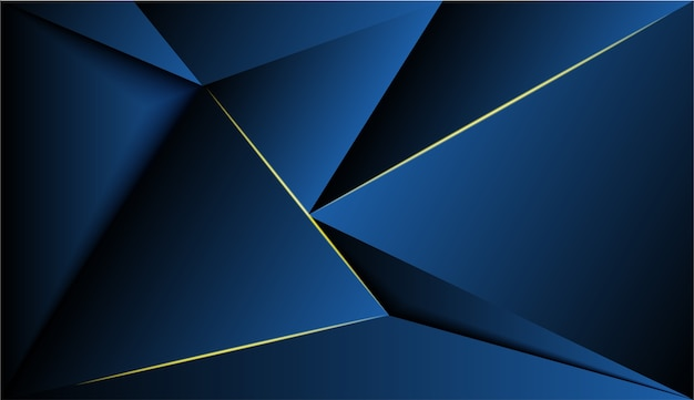 Blue polygon and gold glow light background.