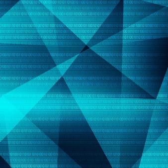 이진 숫자와 함께 파란색 다각형 배경