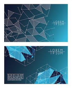 青い多角形の背景