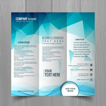Blue polygonal brochure