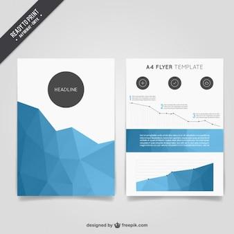 Синий многоугольной брошюра