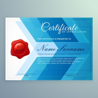 Blue polygonal certificate with a red stamp