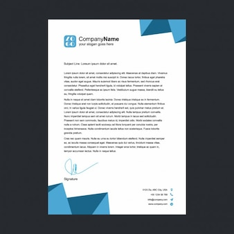 Blue polygonal shapes letterhead