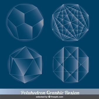 Blue polyhedron collection