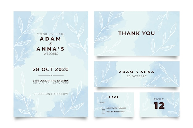 Blue powder pastel wedding stationery