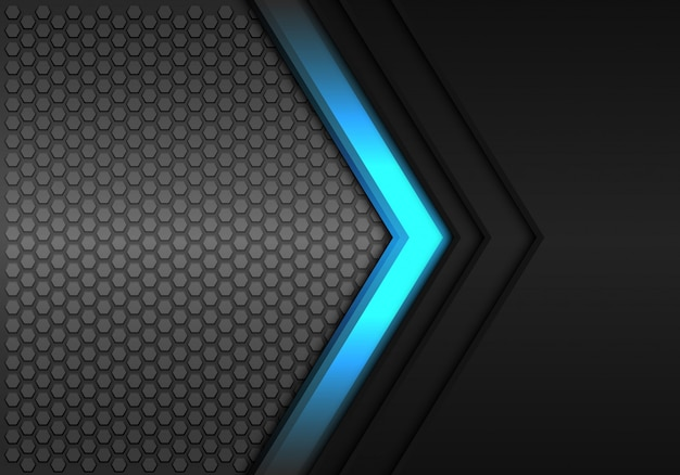 Blue power arrow direction black hexagon mesh background.