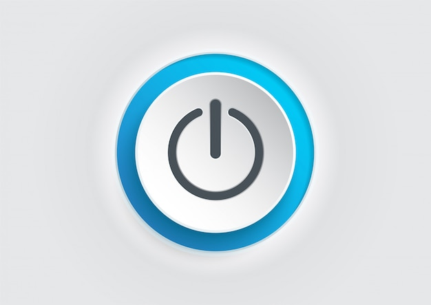 Blue power button icon. illustrator vector.