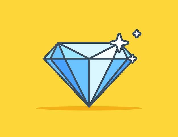 ブループレシャスダイヤモンド。黄色の背景に大きなダイヤモンド。フラットベクトルイラスト。