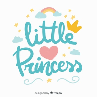 Blue princess lettering background
