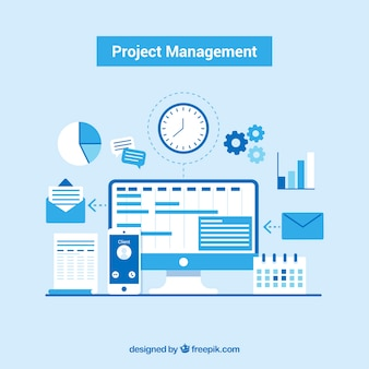 Blue project management concept