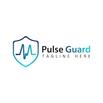 Blue pulse guard logo template design vector with isolated background