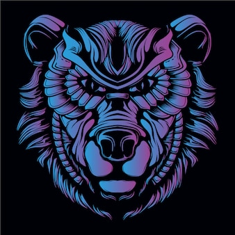 Blue and purple bear head illustration