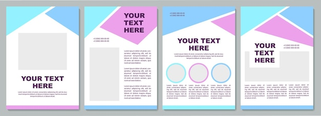 Blue and purple brochure template. company info. flyer, booklet, leaflet print, cover design with copy space. your text here. vector layouts for magazines, annual reports, advertising posters