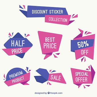 Blue and purple collection of discount stickers