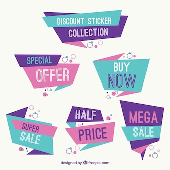 Blue and purple collection of origami discount stickers