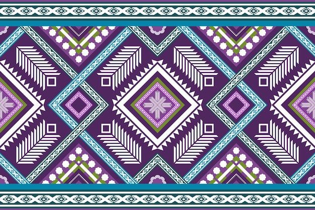Blue purple ethnic geometric oriental seamless traditional pattern. design for background, carpet, wallpaper backdrop, clothing, wrapping, batik, fabric. embroidery style. vector.