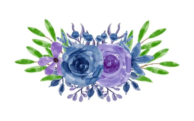 Blue purple floral arrangement with watercolor