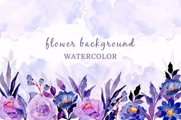 Blue purple floral background with watercolor