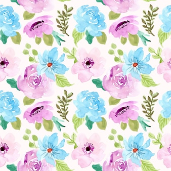 Blue purple floral watercolor seamless pattern