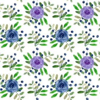 青紫花柄水彩シームレスパターン