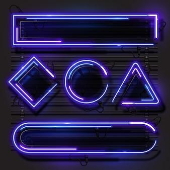 Blue purple geometry neon banner set.