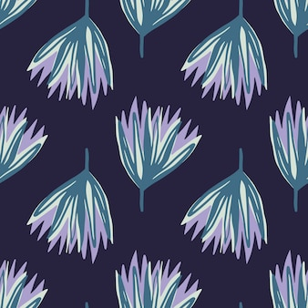 Blue and purple hand drawn tulip flowers seamless pattern. abstract bud silhouettes on navy blue dark background.