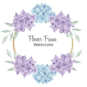 Blue and purple hydrangea watercolor frame