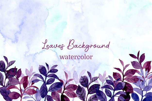 Blue purple leaves background with watercolor