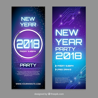 Blue and purple new year banners
