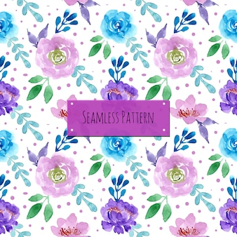 Blue purple pattern with watercolor floral