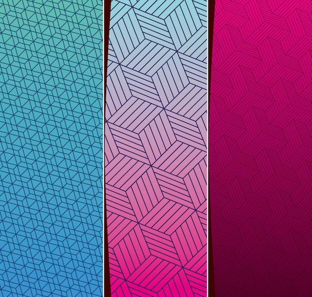 Blue purple pink gradient and pattern backgrounds frames set, cover design.