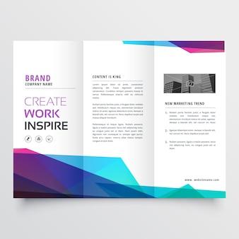 Blue and purple polygonal brochure
