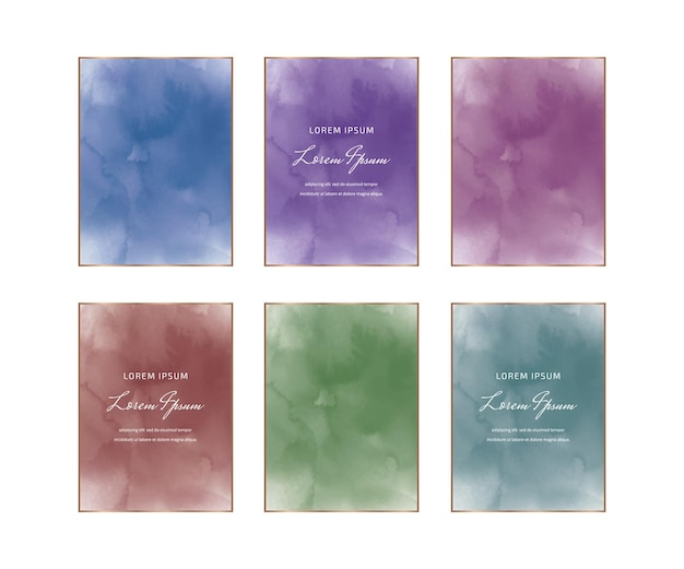 Blue, purple, red and green rectangular watercolor frames