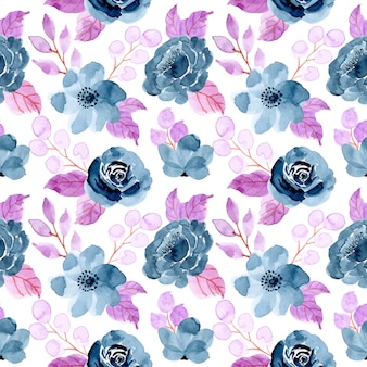 Blue purple seamless pattern with watercolor floral