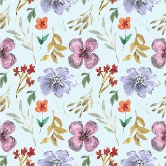 青紫夏ヴィンテージ花柄水彩シームレスパターン