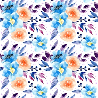 Blue purple watercolor floral seamless pattern